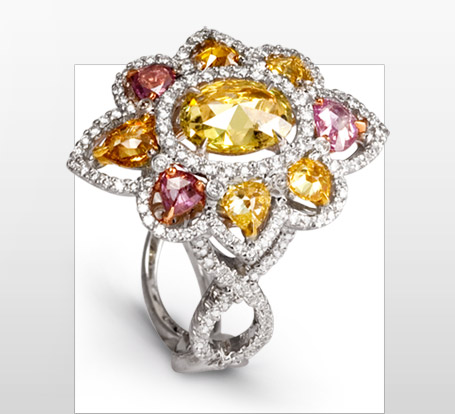 ring diamond rhapsody rings coloured family toronto custom